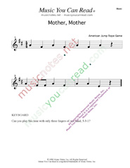 """Mother, Mother"" Music Format"