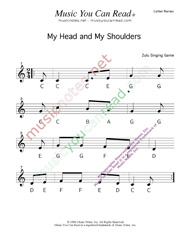 "Click to Enlarge: ""My Head, My Shouldeers"" Letter Names Format"