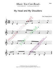 """My Head, My Shouldeers"" Music Format"