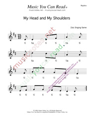 "Click to Enlarge: ""My Head, My Shouldeers"" Rhythm Format"