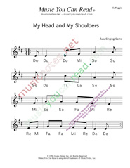 "Click to Enlarge: ""My Head, My Shouldeers"" Solfeggio Format"