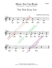 "Click to Enlarge: ""The Old Gray Cat"" Solfeggio Format"