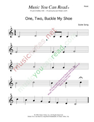 One Two Buckle My Shoe Traditional Lyrics Music Notes Inc Music You Can Read Kodaly Orff Solfeggio Solfege Elementary Music Literacy Curriculum Kindergarten Songs