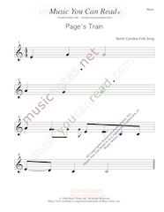 """Page's Train"" Music Format"