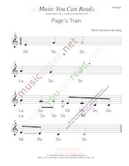 "Click to Enlarge: ""Page's Train"" Solfeggio Format"