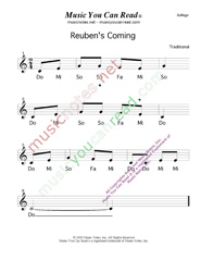 "Click to Enlarge: ""Reuben's Coming"" Solfeggio Format"
