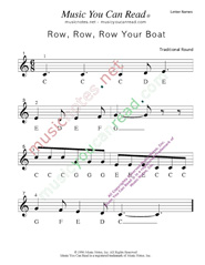 "Click to Enlarge: ""Row, Row, Row Your Boat"" Letter Names Format"