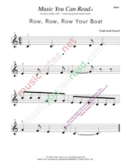"""Row, Row, Row Your Boat"" Music Format"