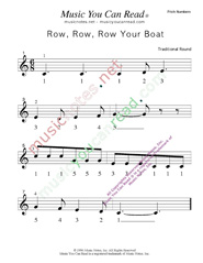 "Click to Enlarge: ""Row, Row, Row Your Boat"" Pitch Number Format"