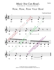 "Click to Enlarge: ""Row, Row, Row Your Boat"" Rhythm Format"