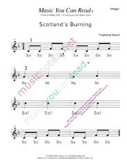 "Click to Enlarge: ""Scotland's Burning"" Solfeggio Format"