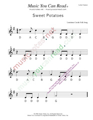 "Click to Enlarge: ""Sweet Potatoes"" Letter Names Format"