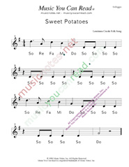 "Click to Enlarge: ""Sweet Potatoes"" Solfeggio Format"