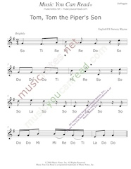 "Click to Enlarge: ""Tom, Tom the Piper's Son"" Solfeggio Format"