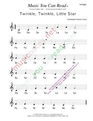 "Click to Enlarge: ""Twinkle, Twinkle, Little Star"" Solfeggio Format"