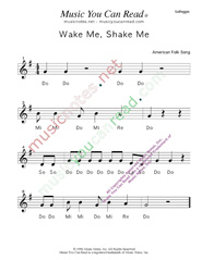 "Click to Enlarge: ""Wake Me, Shake Me"" Solfeggio Format"