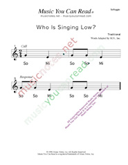 "Click to Enlarge: ""Who is Singing Low?"" Solfeggio Format"
