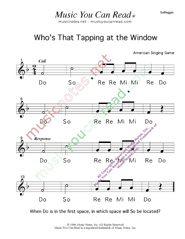 "Click to Enlarge: ""Who's That Tapping at the Window?"" Solfeggio Format"