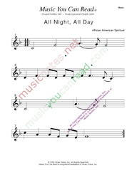 """All Night, All Day"" Music Format"