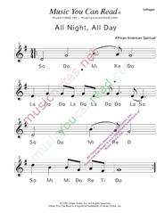 "Click to Enlarge: ""All Night, All Day"" Solfeggio Format"