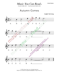 "Click to Enlarge: ""Autumn Comes"" Letter Names Format"