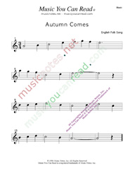 """Autumn Comes"" Music Format"