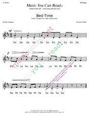 "Click to Enlarge: ""Bed Time"" Solfeggio Format"