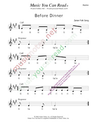 "Click to Enlarge: ""Before Dinner"" Rhythm Format"