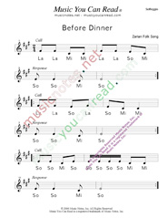 "Click to Enlarge: ""Before Dinner"" Solfeggio Format"