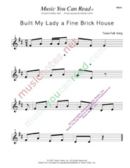 """Built My Lady a Fine Brick House"" Music Format"