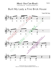"Click to Enlarge: ""Built My Lady a Fine Brick House"" Rhythm Format"