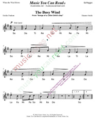 "Click to Enlarge: ""The Busy Wind"" Solfeggio Format"