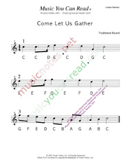 "Click to Enlarge: ""Come Let Us Gather"" Letter Names Format"