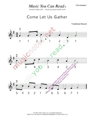 "Click to Enlarge: ""Come Let Us Gather"" Pitch Number Format"
