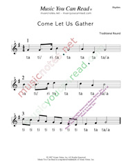 "Click to Enlarge: ""Come Let Us Gather"" Rhythm Format"