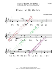 "Click to Enlarge: ""Come Let Us Gather"" Solfeggio Format"