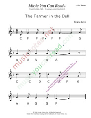 "Click to Enlarge: ""The Farmer in the Dell"" Letter Names Format"