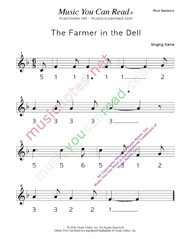 "Click to Enlarge: ""The Farmer in the Dell"" Pitch Number Format"