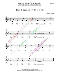 "Click to Enlarge: ""The Farmer in the Dell"" Rhythm Format"