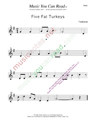 """Five Fat Turkeys"" Music Format"