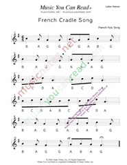 "Click to Enlarge: ""French Cradle Song"" Letter Names Format"
