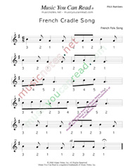 "Click to Enlarge: ""French Cradle Song"" Pitch Number Format"