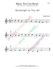 """Goodnight to You All"" Music Format"