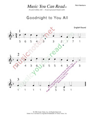"Click to Enlarge: ""Goodnight to You All"" Pitch Number Format"