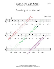 "Click to Enlarge: ""Goodnight to You All"" Rhythm Format"