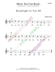 "Click to Enlarge: ""Goodnight to You All"" Solfeggio Format"