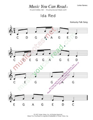 "Click to Enlarge: ""Ida Red"" Letter Names Format"