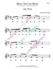 "Click to Enlarge: ""Ida Red"" Rhythm Format"