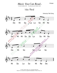 "Click to Enlarge: ""Ida Red"" Solfeggio Format"