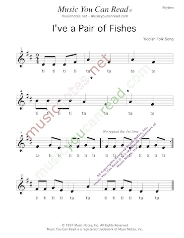 "Click to Enlarge: ""Down by the Bay"" Rhythm Format"